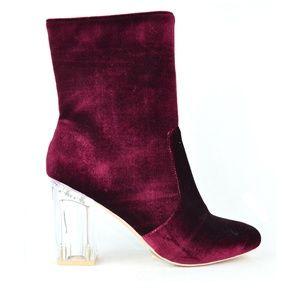 Women's Clear Chunky Heel Red Velvet Ankle Boot